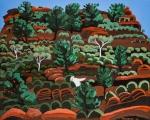 Ndappa Camp 2014 framed $1420 Acrylic on canvas 70cm h x 90cm w