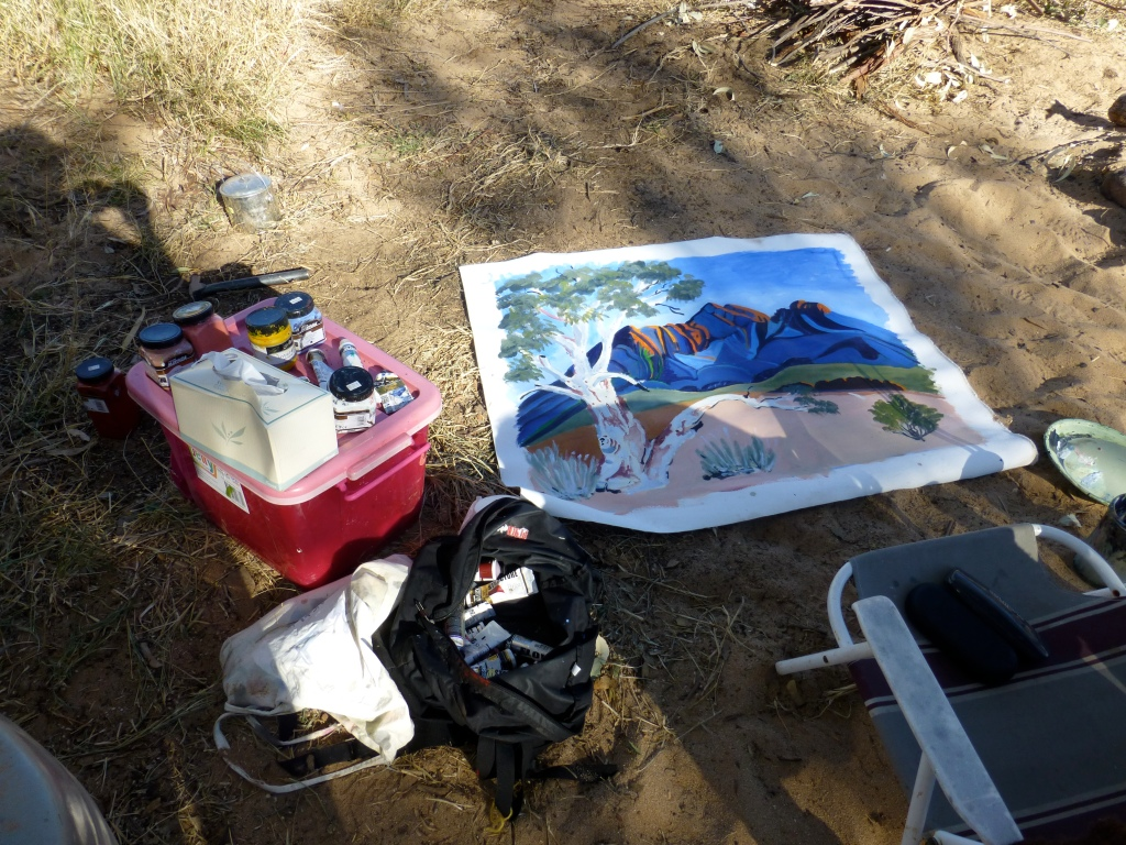 Painting on canvas stretched out on the Earth