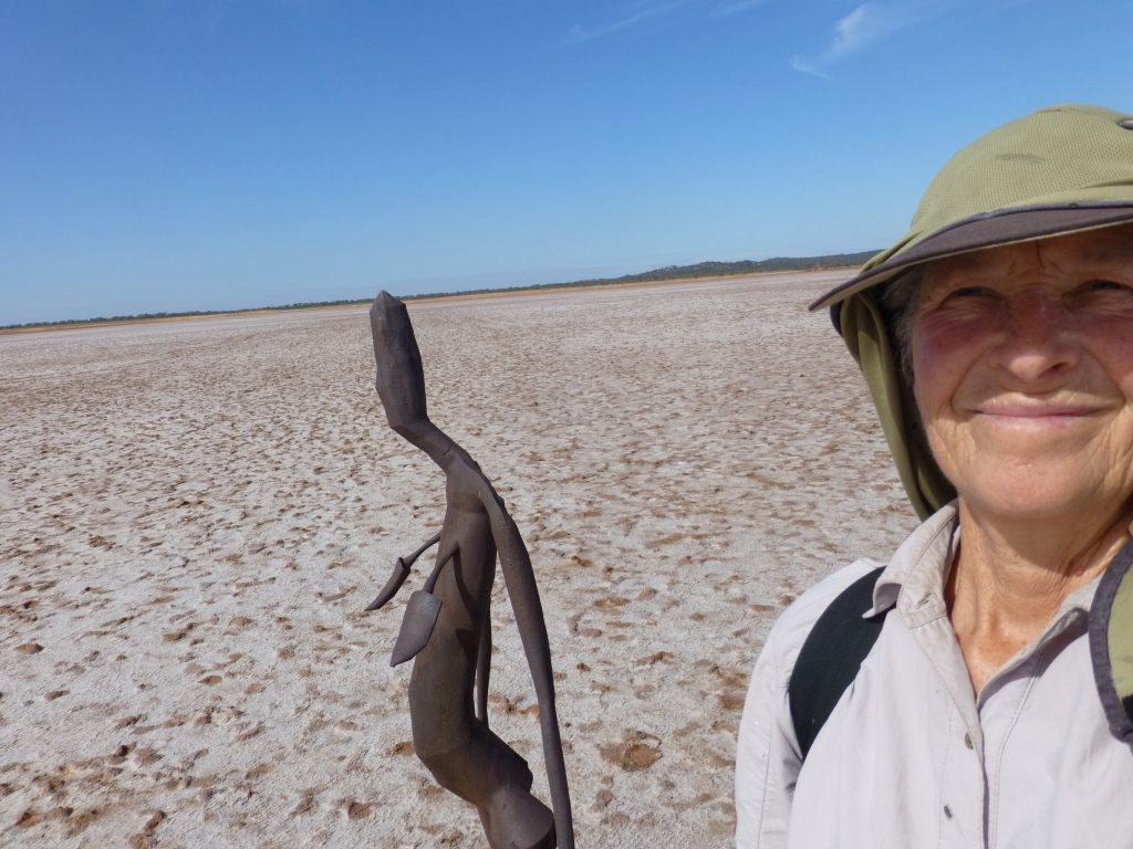 A selfie at Lake Ballard, W.A. beside an Anthony Gormley figure