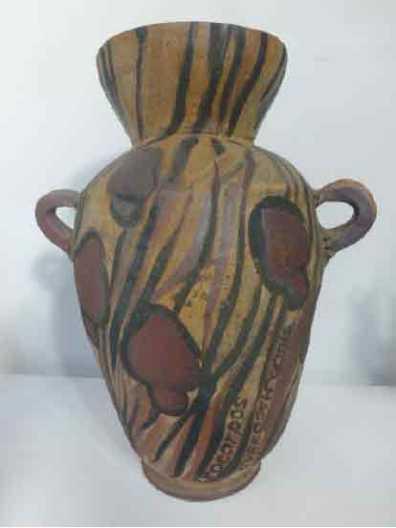 Exocarpus cupressiformis Vase, raku clay with slips and glaze inside, 32cm x 38cm
