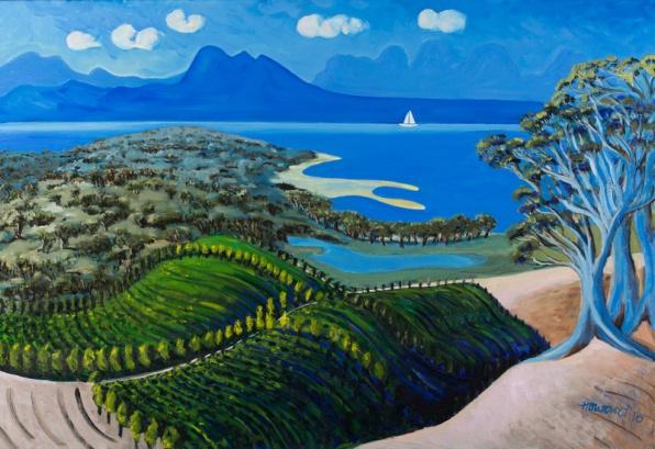Painting titled Devil's Corner Vineyard