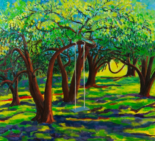 Painting titled Murdunna Pear Orchard